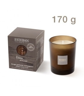 Ebony and Leather refillable scented candle Esteban